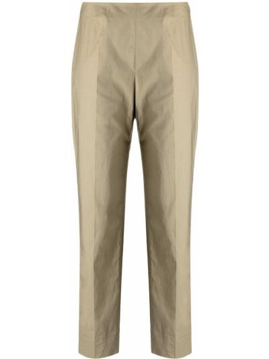 Хлопковые зеленые прямые укороченные брюки Piazza Sempione