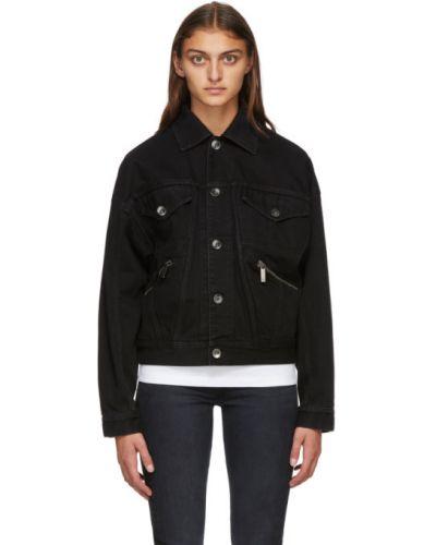 Черная джинсовая куртка с манжетами с воротником стрейч Opening Ceremony
