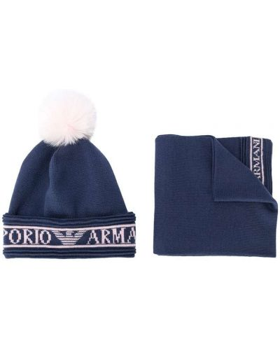Синяя акриловая вязаная шапка бини Emporio Armani Kids