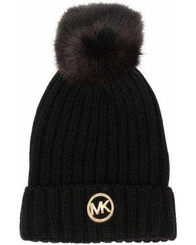 Трикотажная черная шапка бини с помпоном Michael Michael Kors