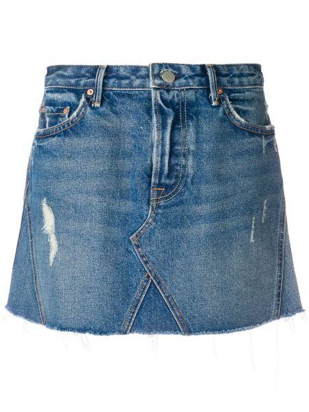 Niebieska spódnica jeansowa z paskiem bawełniana Grlfrnd