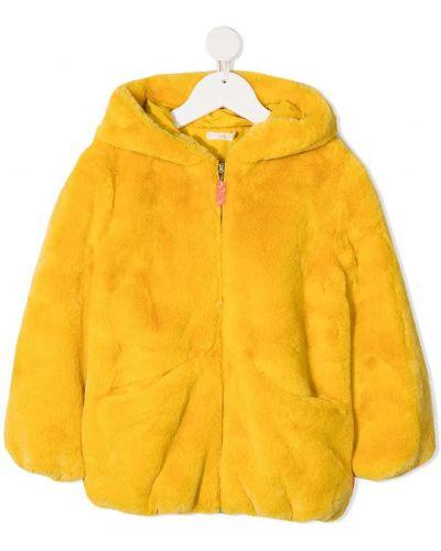 Желтая длинная шуба из искусственного меха с капюшоном Billieblush
