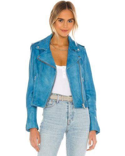 Niebieskie jeansy skorzane miejskie Lamarque
