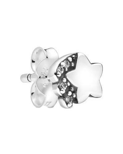 Серебряные серебряные серьги с фианитом Pandora