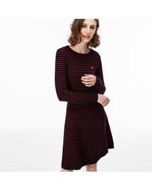 Платье с поясом теплое красный Lacoste