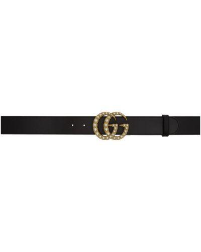 Skórzany czarny pasek z paskiem z perłami Gucci