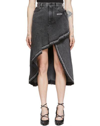 Джинсовая юбка с цветочным принтом асимметричная Off-white