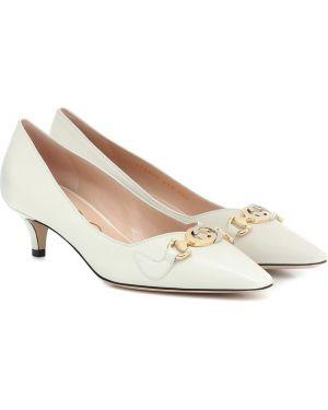 Туфли на каблуке кожаные без каблука Gucci