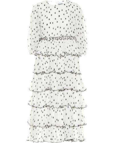 Белое платье миди Ganni
