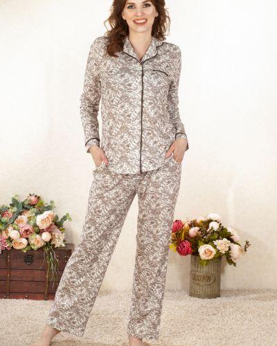 Хлопковая домашняя пижамная пижама с брюками на пуговицах Lena Basco