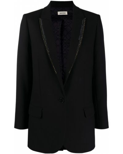 Черный удлиненный пиджак на пуговицах с подкладкой Zadig&voltaire