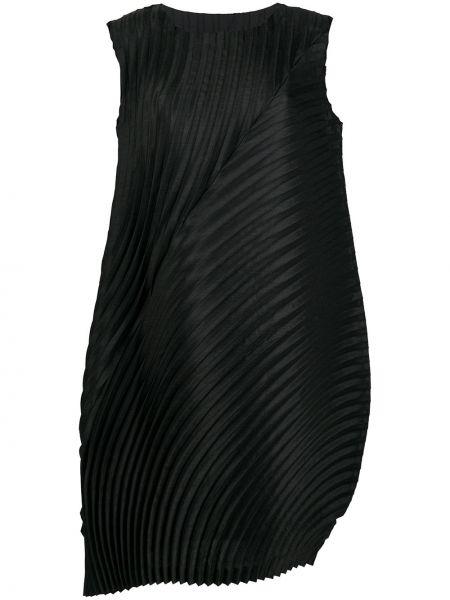 Черное плиссированное платье миди без рукавов с вырезом Issey Miyake
