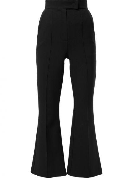 Черные расклешенные укороченные брюки с поясом Dalood