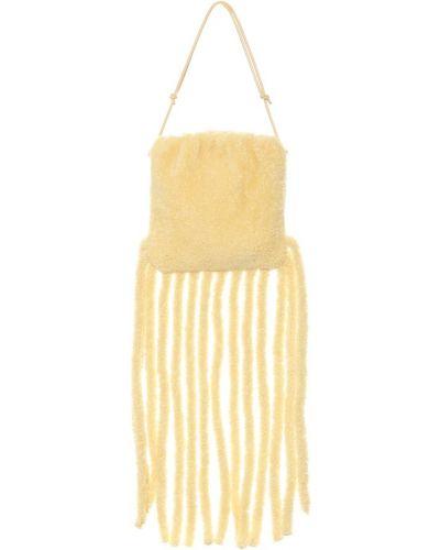 Żółta torebka skórzana z frędzlami Bottega Veneta
