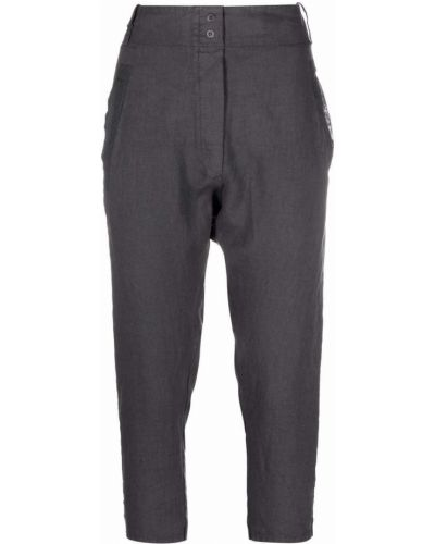 Хлопковые серые укороченные брюки с поясом Kristensen Du Nord
