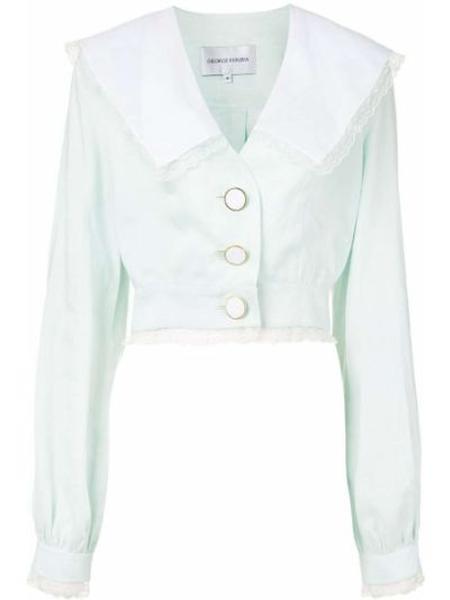 Ажурная прямая рубашка с воротником на пуговицах George Keburia