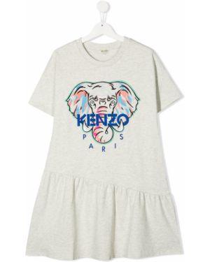 Sukienka mini krótki rękaw bawełniana z printem Kenzo Kids