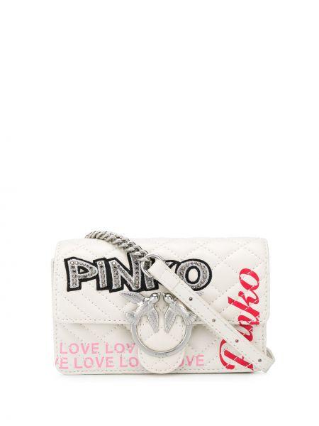 Кожаный розовый ремень с поясом с вышивкой Pinko