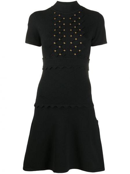 С рукавами вязаное черное платье мини Pinko