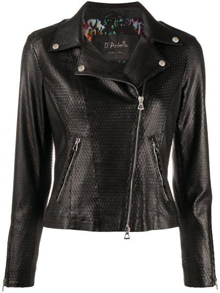 Кожаная куртка черная байкерская D'aniello