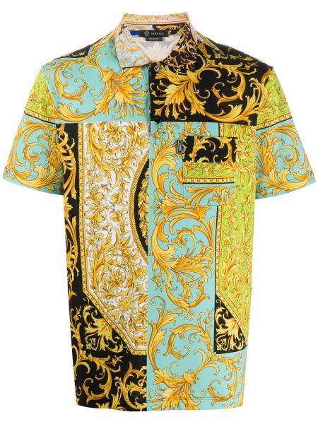 Koszula krótkie z krótkim rękawem klasyczna niebieski Versace
