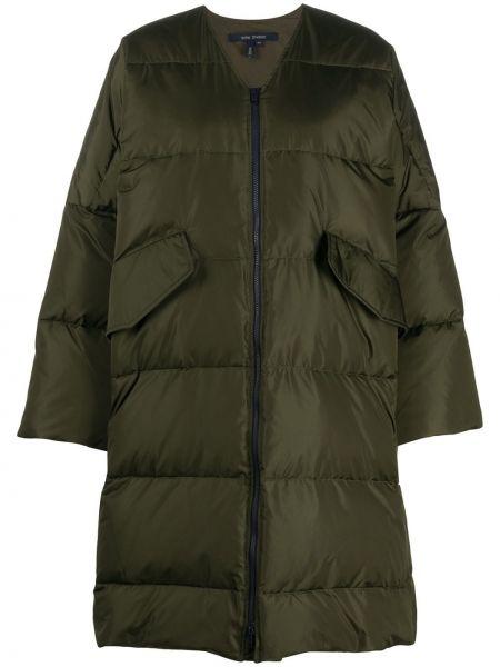 Зеленое пуховое длинное пальто с карманами с перьями Sofie D'hoore