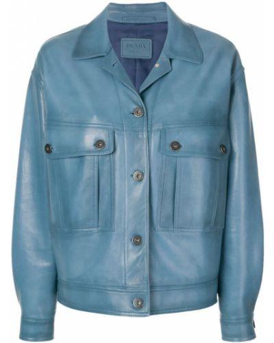 Кожаная куртка с карманами Prada