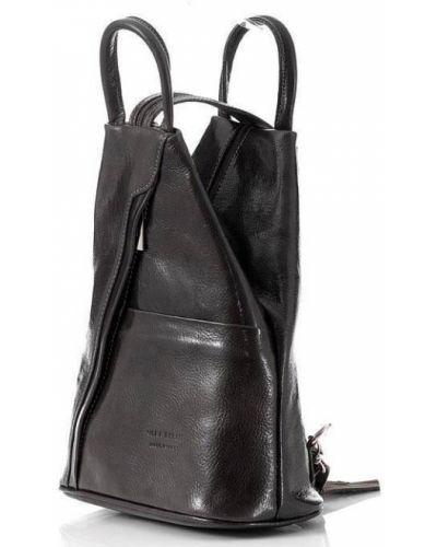 Czarny plecak skórzany oversize Vera Pelle