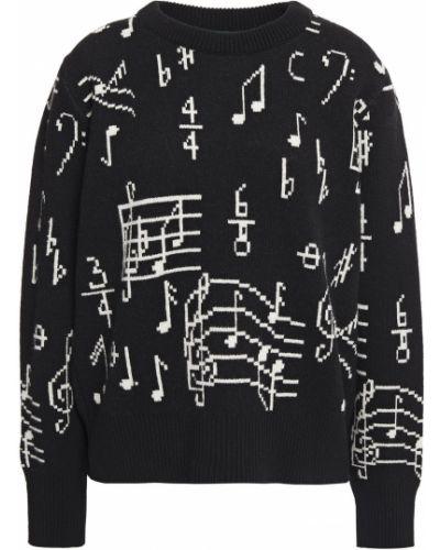 Prążkowany czarny sweter wełniany Alexachung