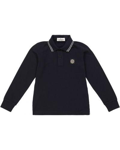 Хлопковая рубашка - синяя Stone Island Junior