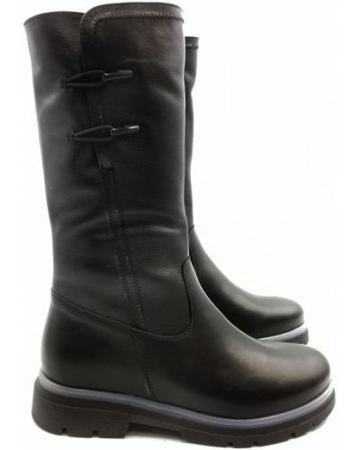 Кожаные сапоги - черные Stepter
