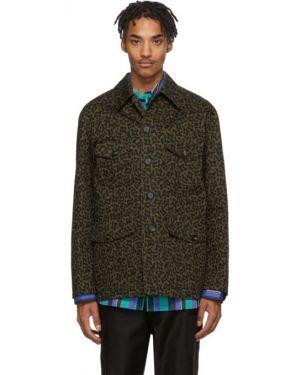 Длинная куртка черная зеленая Marni