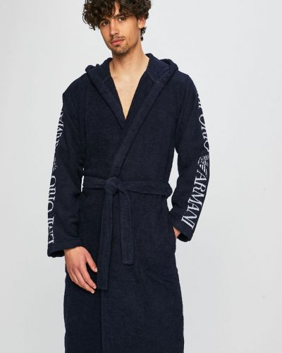 Халат с капюшоном темно-синий Emporio Armani