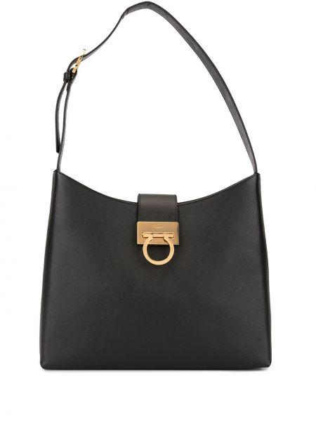 Золотистая черная сумка на плечо на молнии с карманами Salvatore Ferragamo Pre-owned