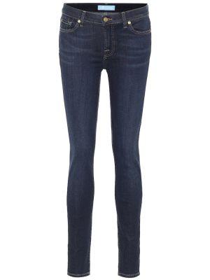 Синие зауженные джинсы-скинни стрейч 7 For All Mankind