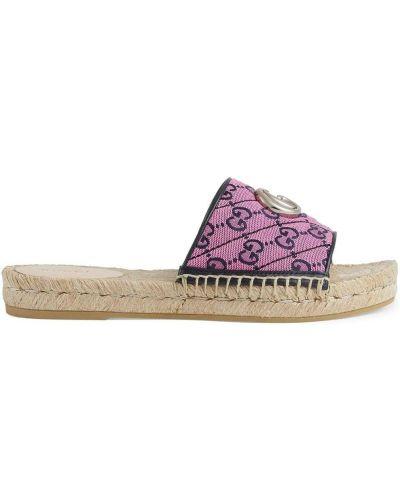 Różowe sandały peep toe Gucci