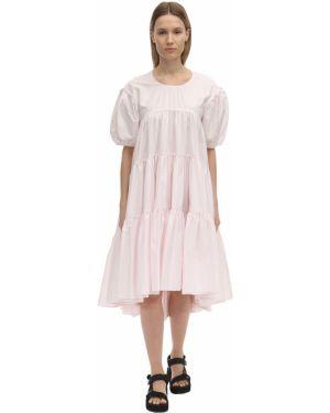 Розовое платье миди с декольте из поплина на резинке Cecilie Bahnsen