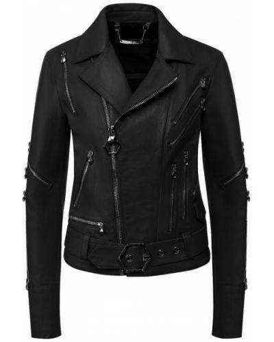 Кожаная куртка черная с подкладкой Philipp Plein
