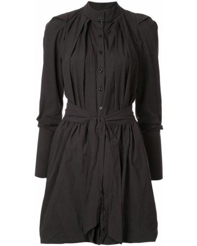 Черное прямое платье миди с воротником двустороннее Kitx