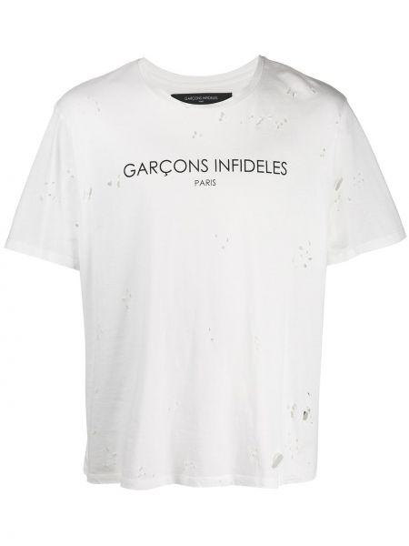 Biały t-shirt bawełniany krótki rękaw Garçons Infideles