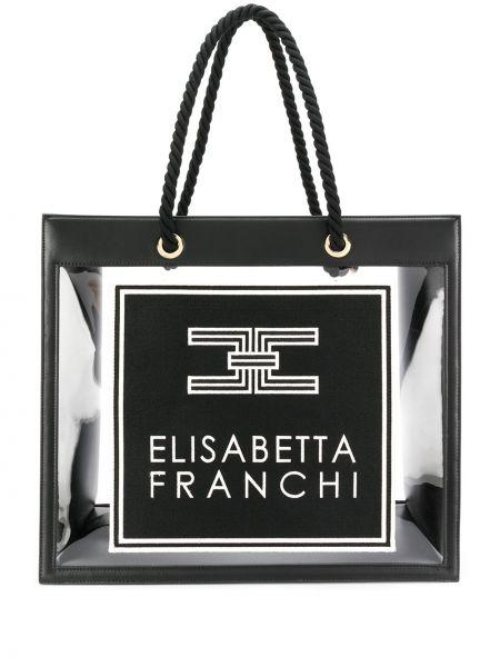Skórzana torebka na ramię czarna Elisabetta Franchi