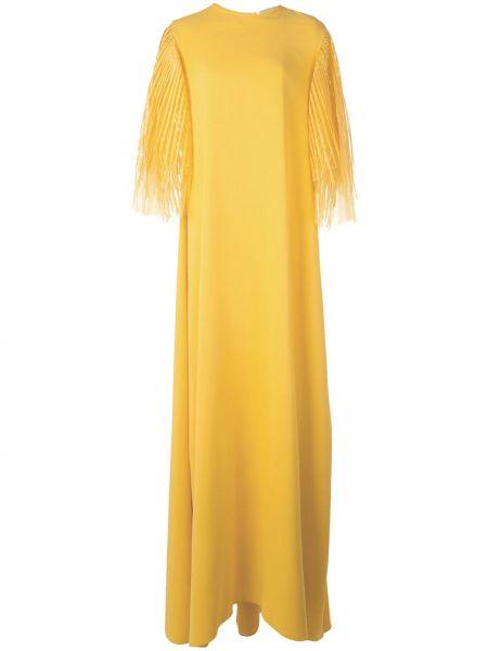 Платье в рубчик с разрезами по бокам Oscar De La Renta