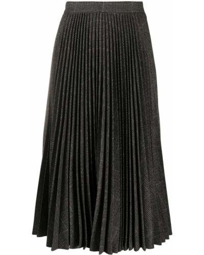 Шерстяная плиссированная серая с завышенной талией юбка миди Michael Michael Kors