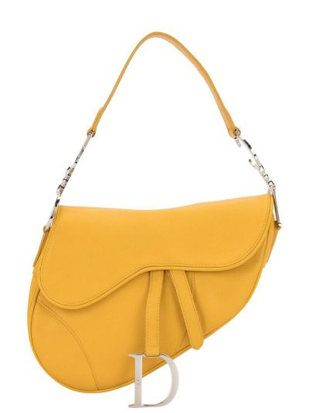 Желтая кожаная сумка на плечо винтажная Christian Dior