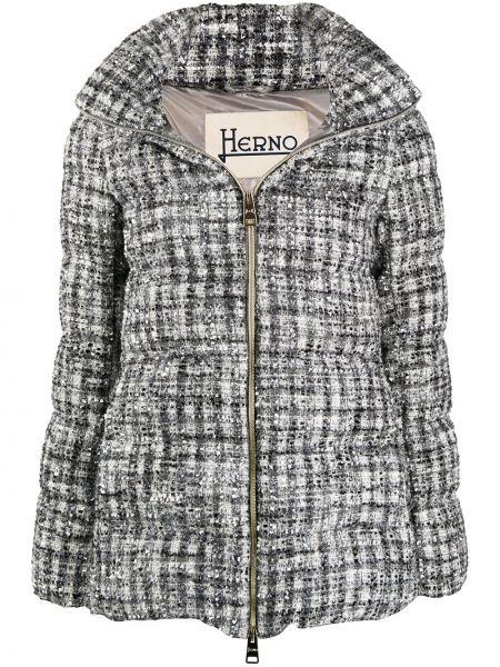 Серая длинная куртка с манжетами с подкладкой металлическая Herno