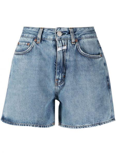 Синие льняные джинсовые шорты с карманами Closed
