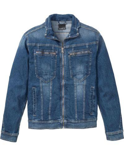 Джинсовая куртка на молнии синяя Bonprix