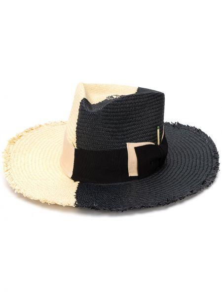 Соломенная черная шляпа с широкими полями свободного кроя Nick Fouquet