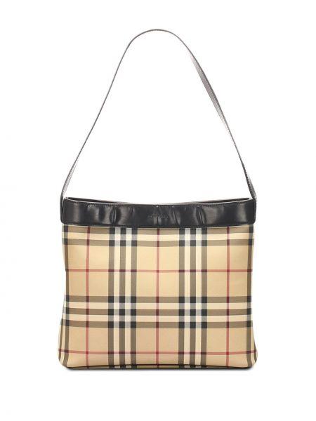 Домашняя кожаная коричневая сумка на плечо с подкладкой Burberry Pre-owned