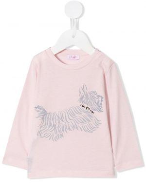 Хлопковая розовая футболка с длинными рукавами Il Gufo